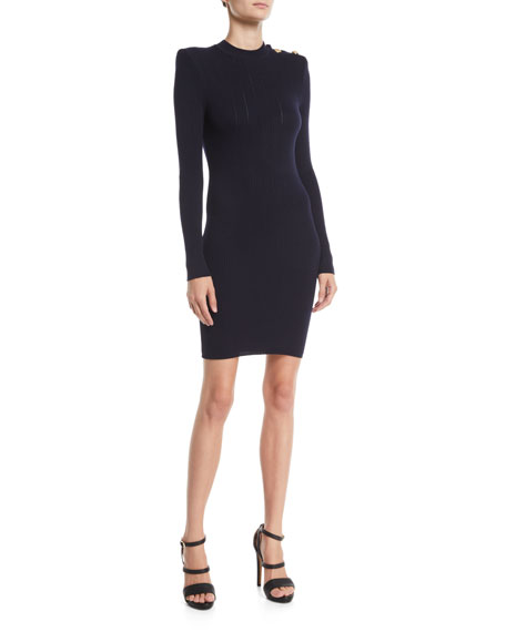 Button-Shoulder Long-Sleeve Ribbed Body-Con Short Cocktail Dress