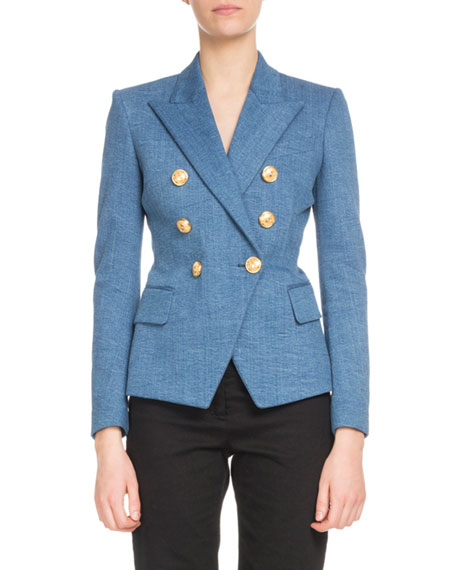 Double-Breasted Classic Denim Blazer in Blue