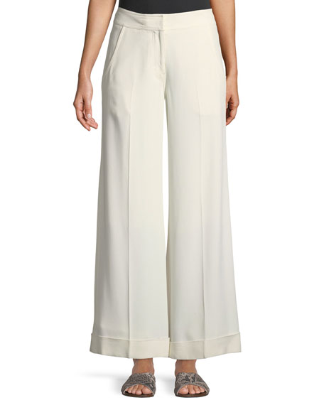 Wide-Leg Pebble Crepe Trousers