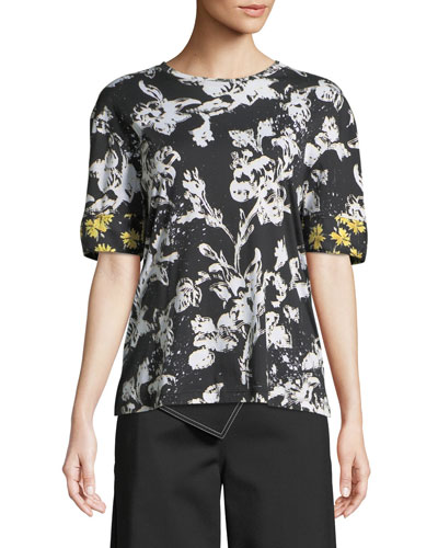 Short-Sleeve Graffiti Floral-Print Cotton T-Shirt w/ Silk Cuffs