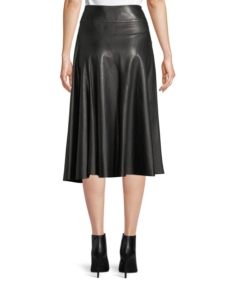 A-Line Leather Skirt w/ Grommet Detail