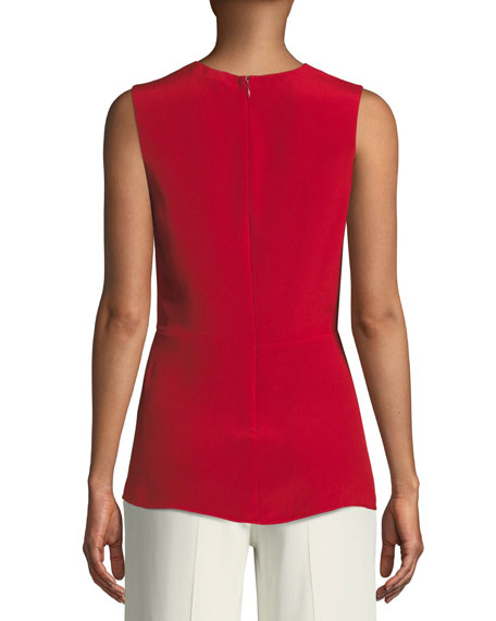 V-Neck Sleeveless Asymmetrical-Ruched Silk Blouse