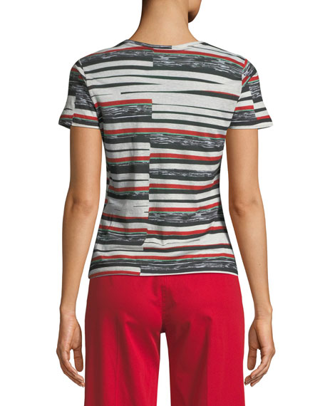 Abstract Bold-Stripe Short-Sleeve T-Shirt