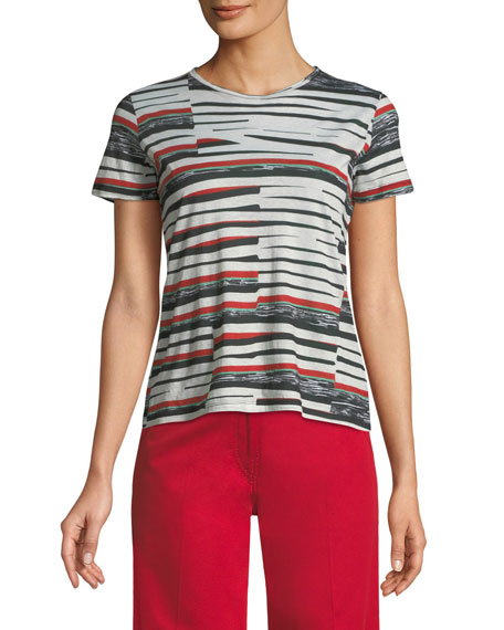 Derek Lam Abstract Bold-Stripe Short-Sleeve T-Shirt and Matching