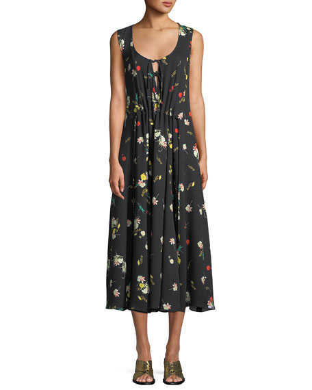 Derek Lam Sleeveless Scoop-Neck Botanical Floral-Print Silk Dress
