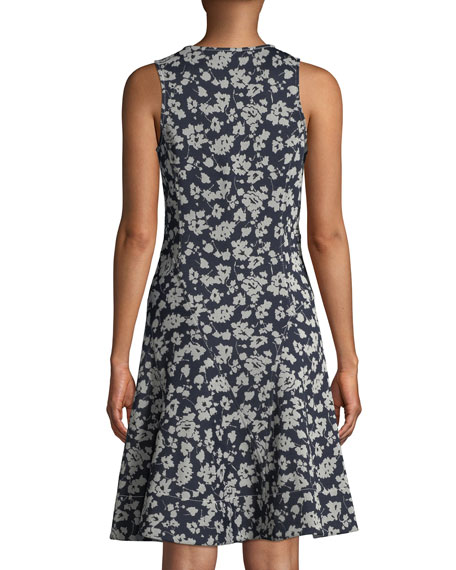 Scoop-Neck Sleeveless Fit-and-Flare Floral-Print Dress