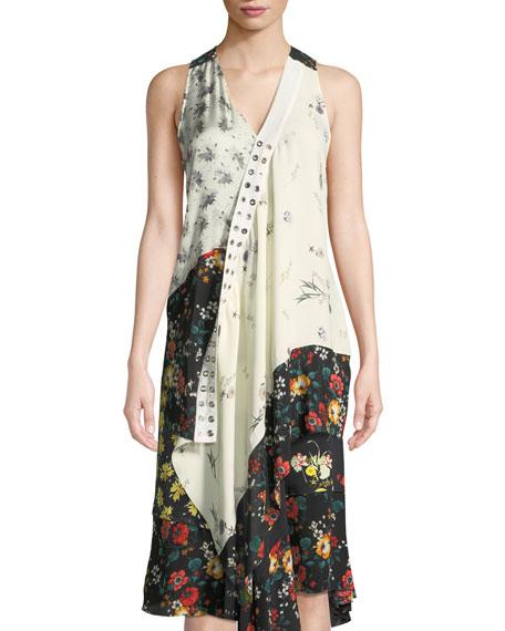 Derek Lam Sleeveless Mixed-Print Asymmetric Silk Top