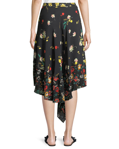 Mixed Botanical-Print Asymmetric Silk Skirt
