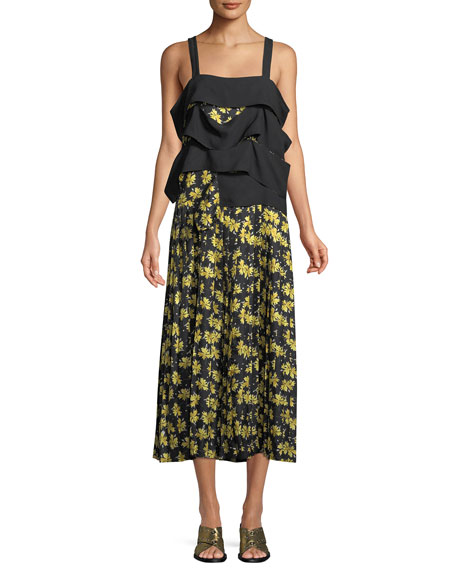 Derek Lam Sleeveless Draped Panel Cami Floral-Print Pleated