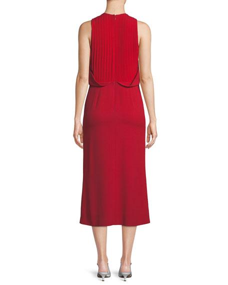 Shirred Mock-Neck Sleeveless Crepe Cocktail Dress