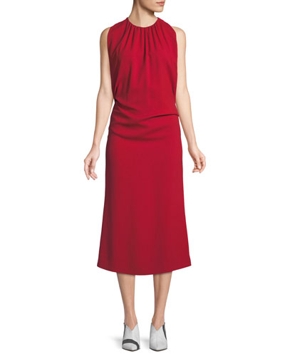 Shirred Mock-Neck Sleeveless Crepe Cocktail Dress