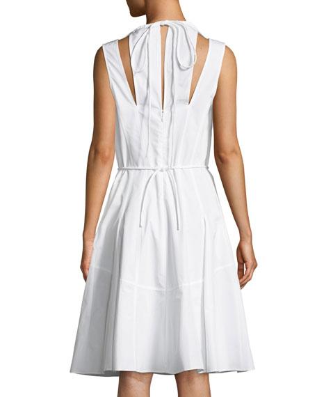 Sleeveless Halter Cotton Cami Dress w/ Seamed Skirt