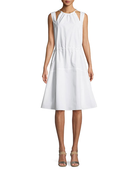 Derek Lam Sleeveless Halter Cotton Cami Dress w/