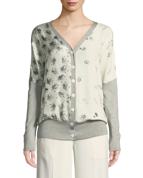 V-Neck Button-Front Mixed-Print Silk-Cotton Cardigan