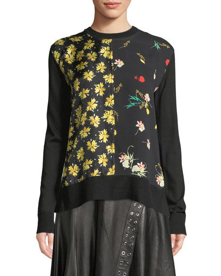 Derek Lam Crewneck Long-Sleeve Mixed-Print Silk-Cotton Pullover