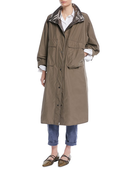 Brunello Cucinelli Taffeta Trench Coat w/ Metallic Inner