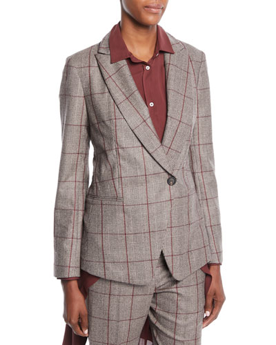 One-Button Plaid Blazer w/ Paillette Under-Collar