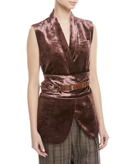 Brunello Cucinelli Velvet Vest with Wrap Belt