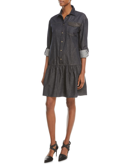 Brunello Cucinelli Drop-Waist Button-Front Denim Dress w/ Monili