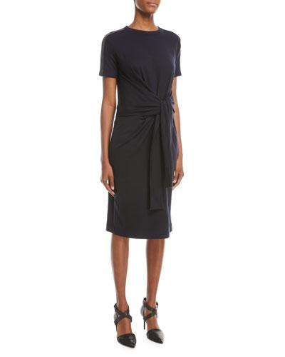 Short-Sleeve Tie-Waist Monili-Shoulder Dress