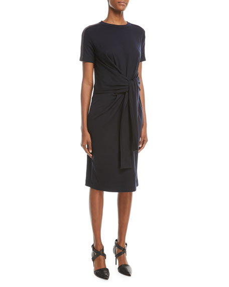 Brunello Cucinelli Short-Sleeve Tie-Waist Monili-Shoulder Dress