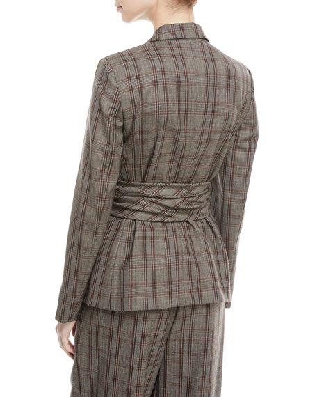 Peak-Lapel Plaid Virgin Wool Blazer with Leather Wrap Belt