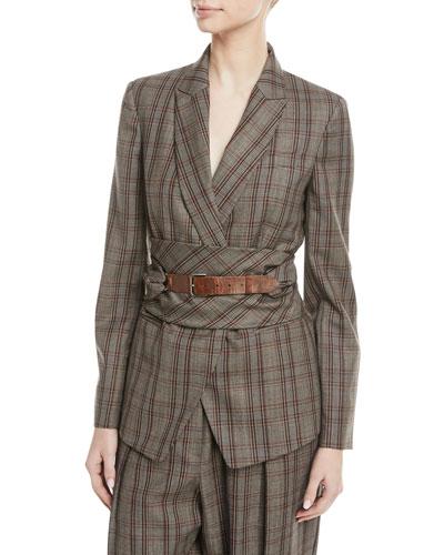 Peak-Lapel Plaid Virgin Wool Blazer with Leather Wrap Belt