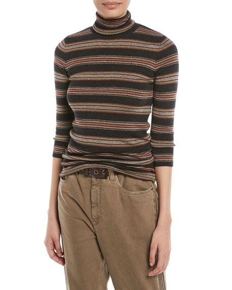 Brunello Cucinelli Metallic Striped Wool-Cashmere Turtleneck Sweater