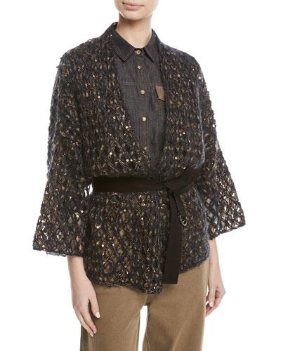 Mohair Netted Wrap Cardigan w/ Paillettes & Grosgrain Belt