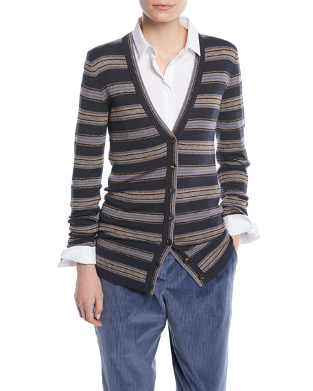 Metallic Striped Wool-Cashmere Cardigan