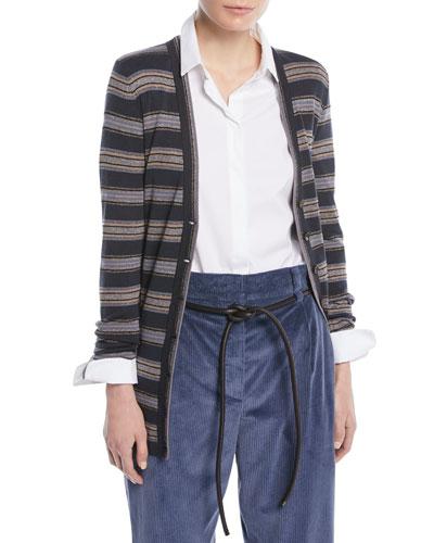 Metallic Striped Wool-Cashmere Cardigan