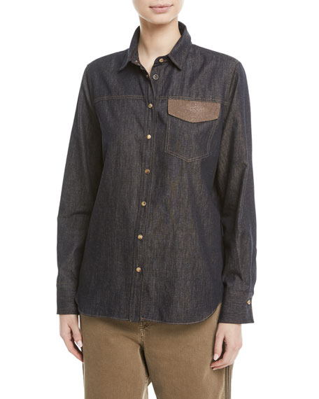 Brunello Cucinelli Snap-Front Western Denim Shirt w/ Monili