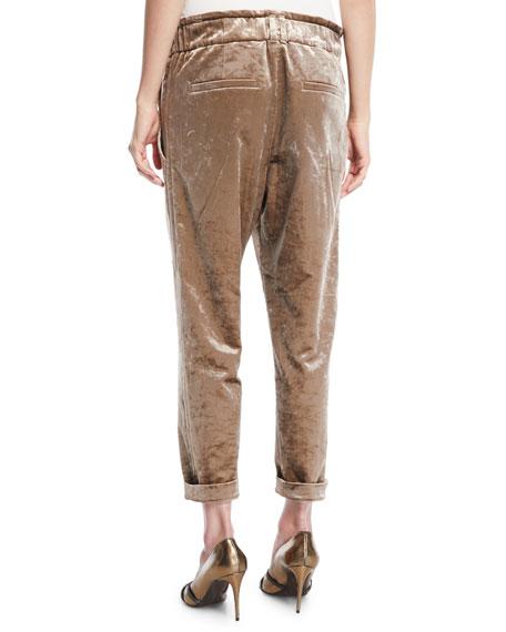 Velvet Straight-Leg Pull-On Utility Pants