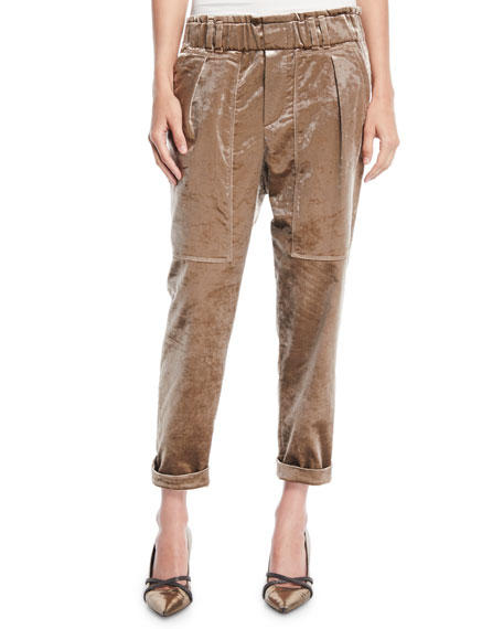 Brunello Cucinelli Velvet Straight-Leg Pull-On Utility Pants