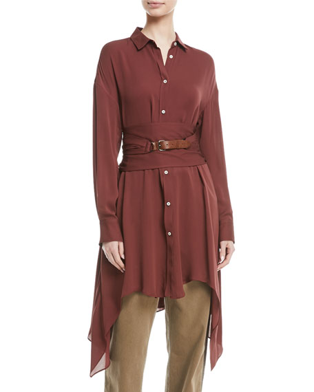 Brunello Cucinelli Long-Sleeve Button-Down Silk Tunic w/ Wrap