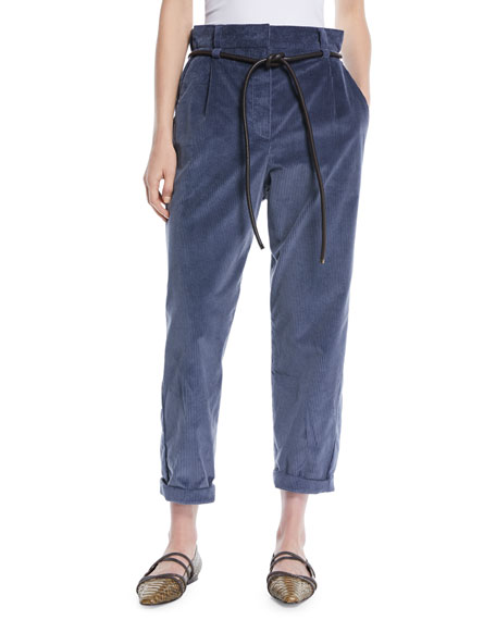 Gathered-Waist Straight-Leg Corduroy Pants with Leather Rope Belt