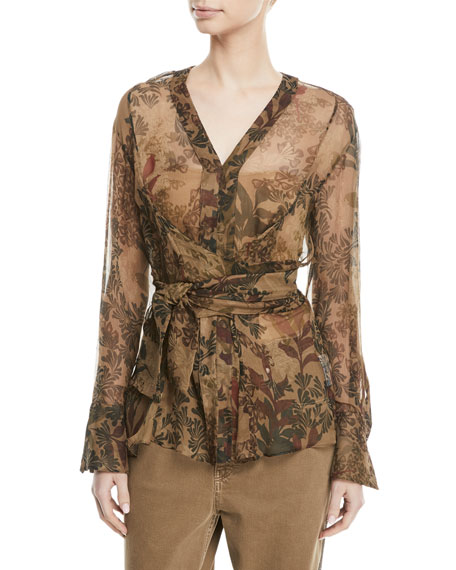 Brunello Cucinelli Long-Sleeve Botanical-Print Wrap-Waist Silk Top