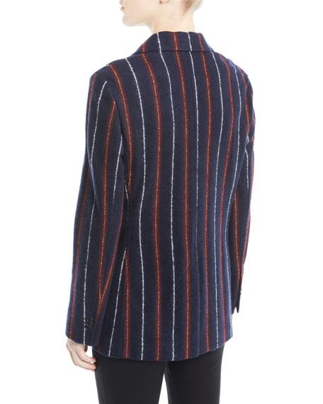 Notched-Collar Three-Button Striped Cashmere-Blend Boy Blazer