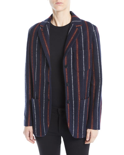 Notched-Collar Three-Button Striped Cashmere-Blend Boy Blazer