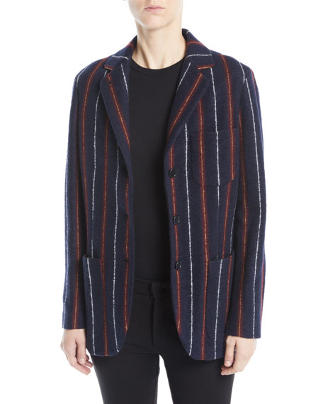 Loro Piana Notched-Collar Three-Button Striped Cashmere-Blend Boy