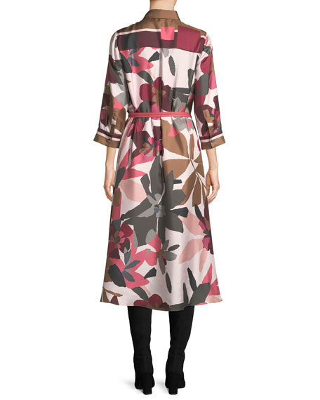 Button-Front Long-Sleeve Floral-Print Silk Shirtdress