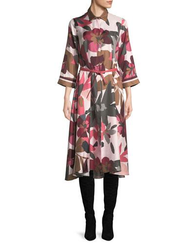 Button-Front Long-Sleeve Floral-Print Silk Shirtdress