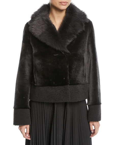 Loro Piana Short Shearling Coat w/ Curly Cuff