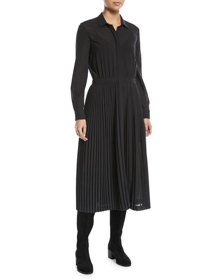 Long-Sleeve Button-Front Wool Silk Voile Dress w/ Pleated Skirt