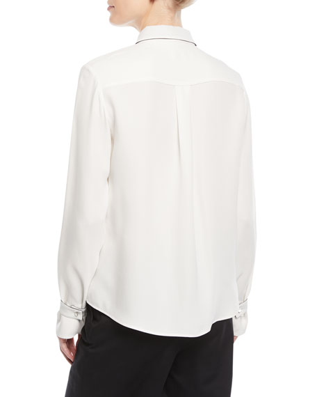 Long-Sleeve Silk Blouse w/ Contrast Necktie