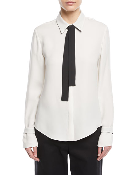 Loro Piana Long-Sleeve Silk Blouse w/ Contrast Necktie