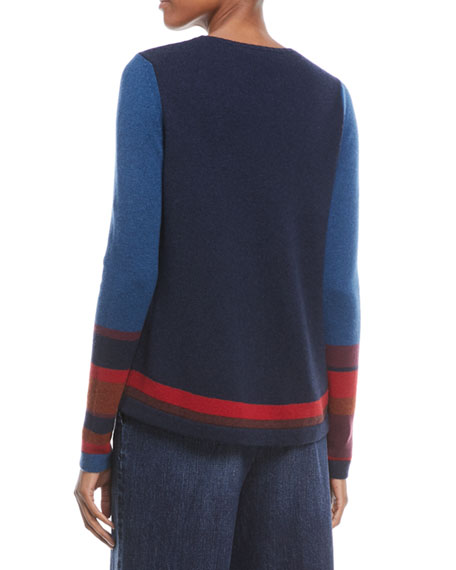 Crewneck Long-Sleeve Striped Cashmere Sweater