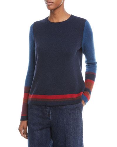 Crewneck Long-Sleeve Striped Cashmere Sweater