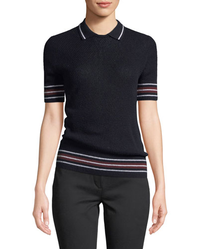 Wellesley Short-Sleeve Knit Polo Top