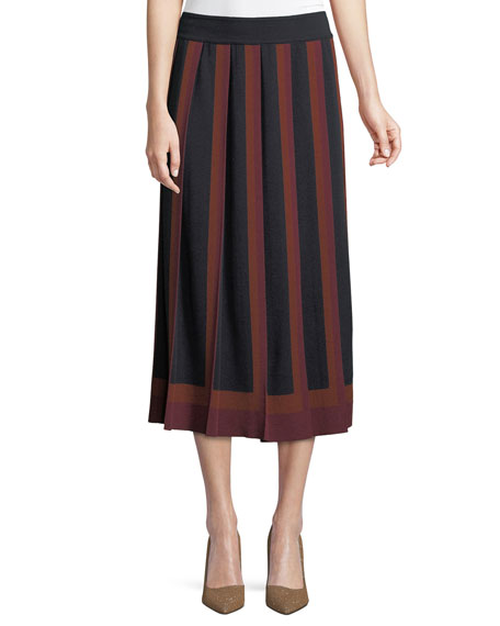 Cashmere-Silk Multicolor Pleated A-Line Skirt